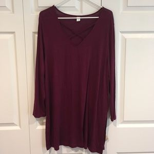 Tops - Cranberry long sleeve long blouse